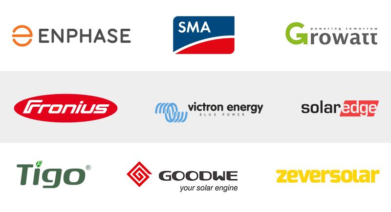 Logo's omvormer zonnepanelen